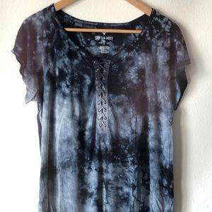 Dark blue lace up shirt